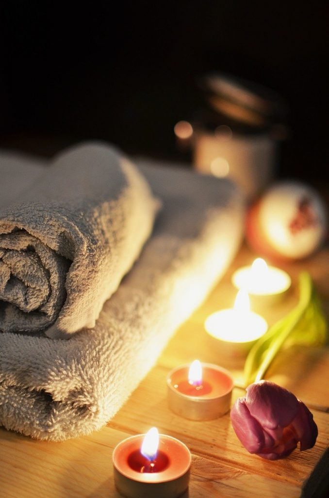 massage therapy, candles, relaxation